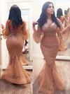 Mermaid 3/4 Sleeves Off the Shoulder Beads Brown Lace up Plus Size Prom Dresses