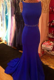 Royal Blue Scoop Mermaid Sleeveless Backless Beads Spandex Prom Dresses