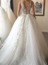 Elegant Ball Gown Round Neck Ivory Open Back Wedding Dress with Appliques Bridal Dresses