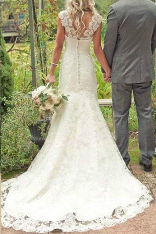Elegant Mermaid Ivory Lace Appliques V Neck Long Beach Wedding Dresses