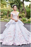 Floral Ball Gown Off the Shoulder Layered Custom Made Quinceanera Dress Wedding