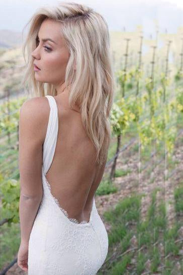 Gorgeous Backless Sweetheart Mermaid Lace Sexy Long Wedding Dresses