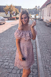 Elegant Sheath Off the Shoulder Blush Pink Short Sleeves Lace Homecoming Dresses