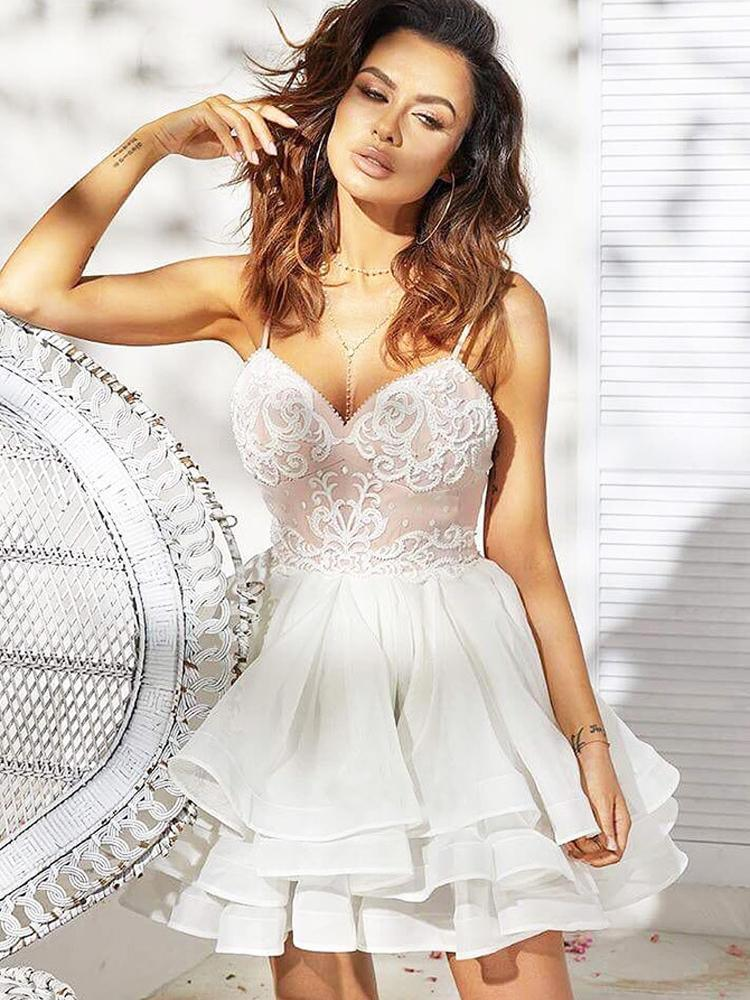 Cute A Line Sweetheart Spaghetti Straps White Lace Short Homecoming Dresses