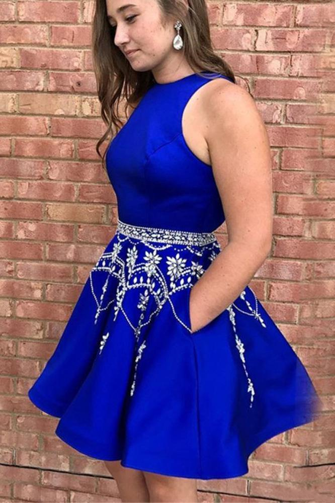 Cute A Line Round Neck Open Back Royal Blue Homecoming Dresses with Beads Pockets