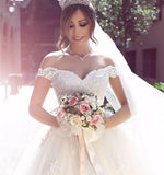 Sexy Ball Gown Off the Shoulder Sweetheart Ivory Tulle Lace Appliques Wedding Dresses