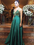 Luxury green satins deep V-neck sequins applique A-line long dress evening