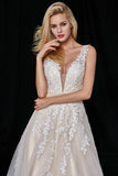 Elegant A-Line Tulle V-Neck V-Back Appliques Beads Ivory Cheap Prom Dresses