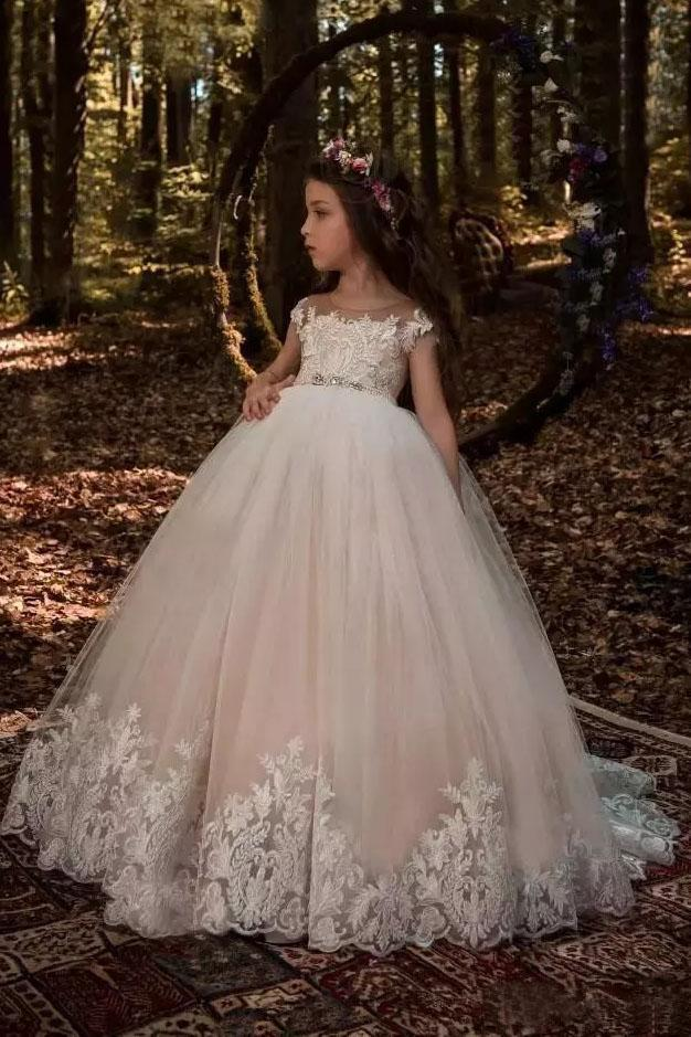 Cute Tulle Scoop Ball Gown Lace Appliques Beads Cap Sleeve Pink Flower Girl Dresses