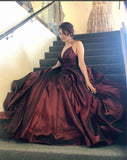 Elegant Simple Deep V Neck Spaghetti Straps Long Ball Gown Satin Prom Dresses