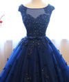 Dark Blue Tulle Lace Beads Ball Gown Open Back Sweet 16 Dress Quinceanera Dresses