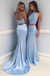 Fashion Light Blue High Neck Beading Long Two Piece Mermaid Halter Evening Dresses