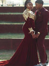Mermaid High Neck Long Sleeve Applique Court Train Velvet Plus Size Prom Dresses