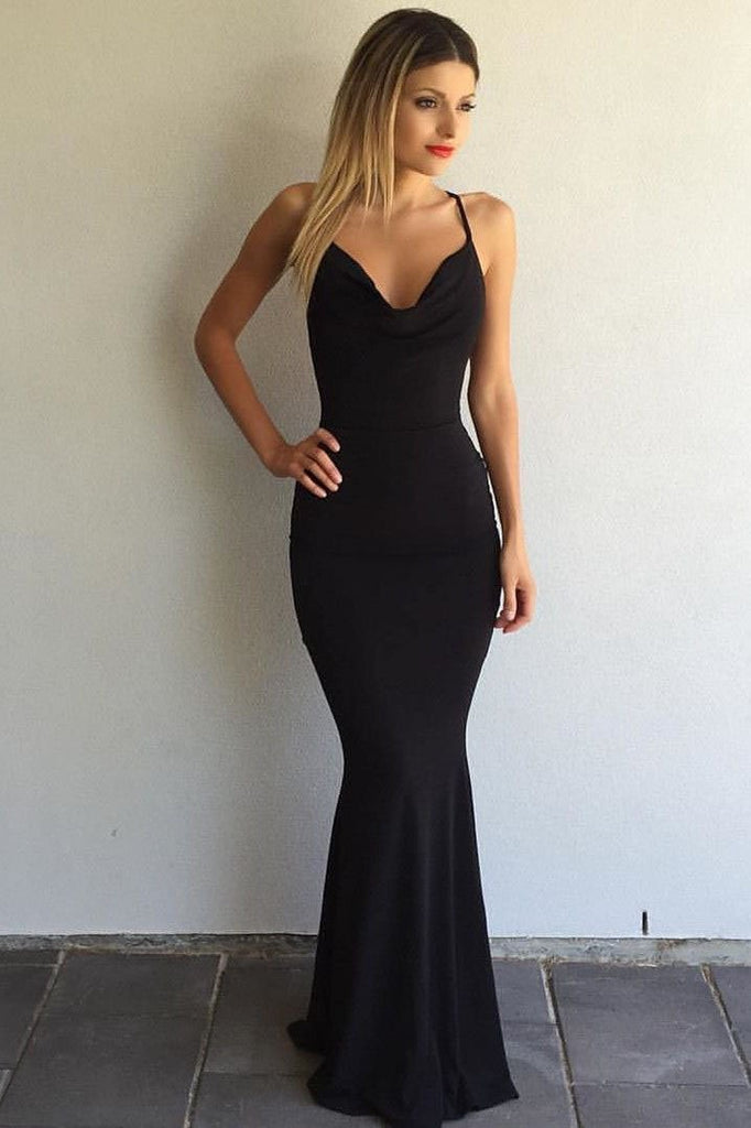 New Arrival Simple Halter Black V-Neck Criss Cross Sleeveless Mermaid Long Prom Dresses