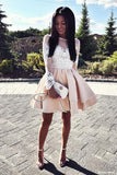 Cute A Line Round Neck White Lace Long Sleeves Satin Short Homecoming Dresses