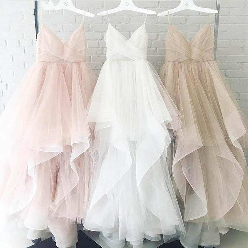 Elegant A Line Spaghetti Straps V Neck Tulle Pink Backless Long Prom Dresses