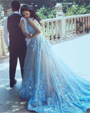 Elegant Spaghetti Straps Lace Flower Light Blue Sleeveless Zipper Tulle Prom Dresses
