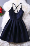 Cute Navy Blue Pleats Short Dress Fashion New Vestido Prom Dress Juniors Party