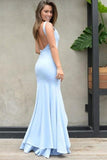 Elegant Mermaid Scoop Backless Blue Satin Sweetheart Slit Prom Dresses with Split