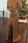 Sexy Mermaid Spaghetti Straps Slit Gold V Neck Sequins Long Sleeveless Prom Dresses