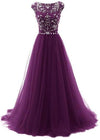 Elegant A Line Burgundy Beads Scoop Tulle Cap Sleeves Long Prom Dresses