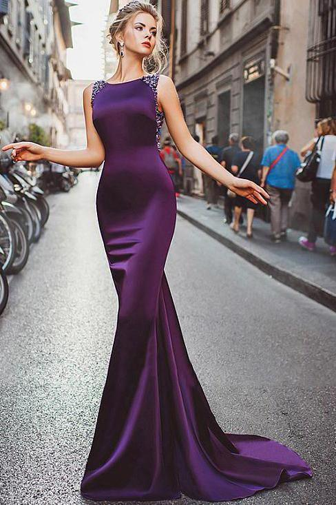 Sexy Sheath Column Regency Long Cheap Satin Mermaid Purple Beads Prom Dresses