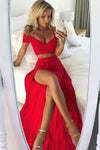 Sexy A Line Off the Shoulder Red Two Pieces V Neck Split Front Chiffon Prom Dresses