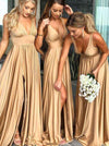 Elegant A-Line V-Neck Elastic Satin Backless Ruffles Sleeveless Bridesmaid Dress with Split