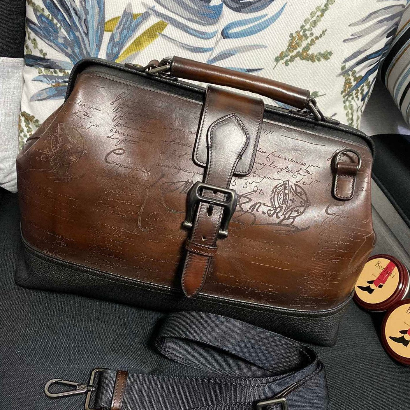 Handmade Vintage Doctors Patina Style Genuine Leather Scritto Duffel Bag - Briefcase Deals