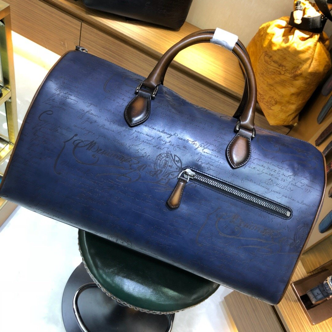 Handmade Patina Style Genuine Leather Large Blue Scritto Duffel - Briefcase Deals