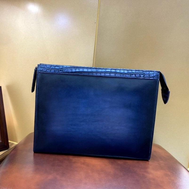 Handmade Crocodile and Calf Genuine Leather Blue Clutch Bag - Briefcase Deals