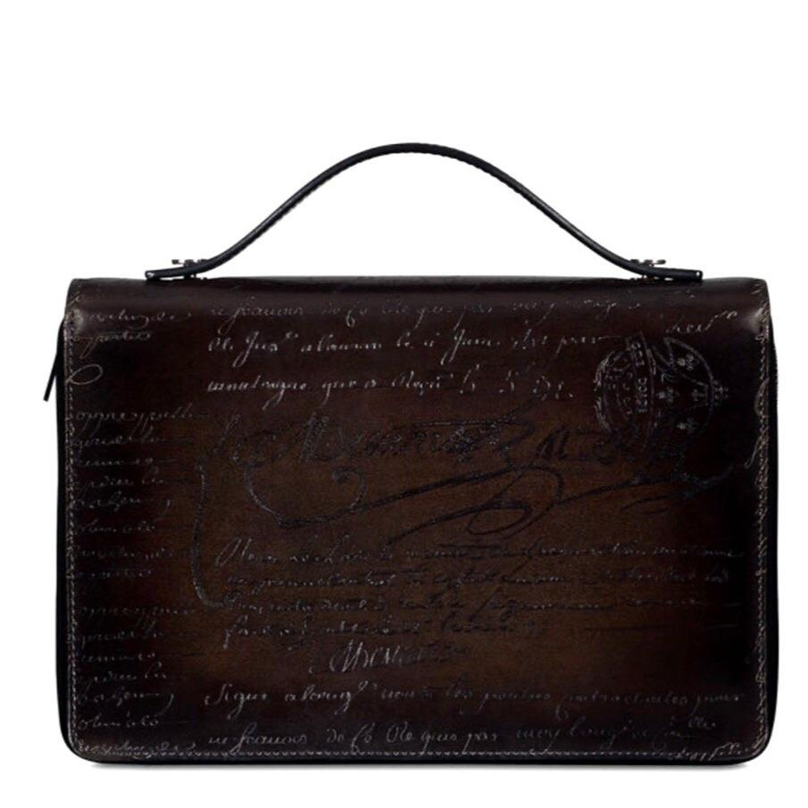 Handmade Vintage Men's Patina Style Wide Scritto Leather Long Zipped Wallet - Briefcase Deals