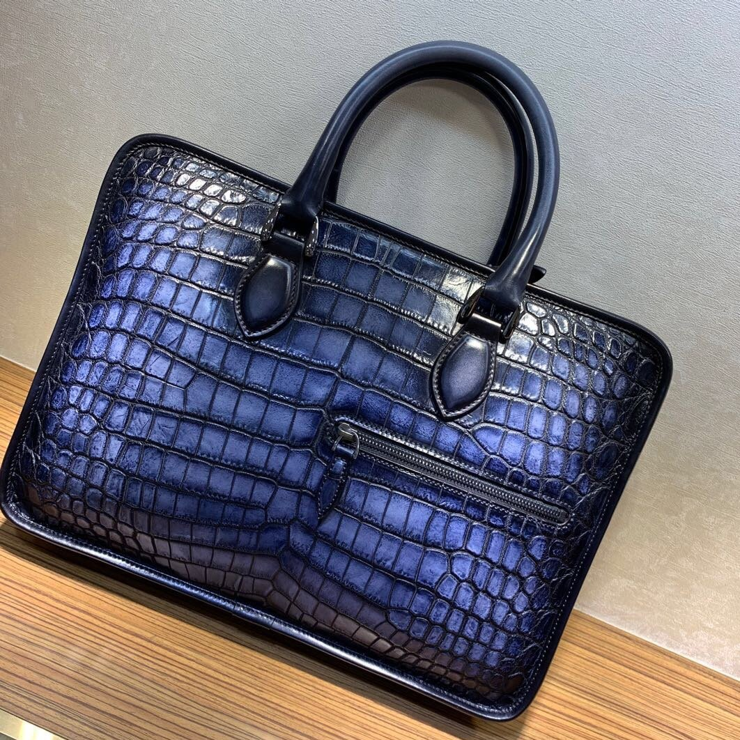 nile crocodile leather briefcase