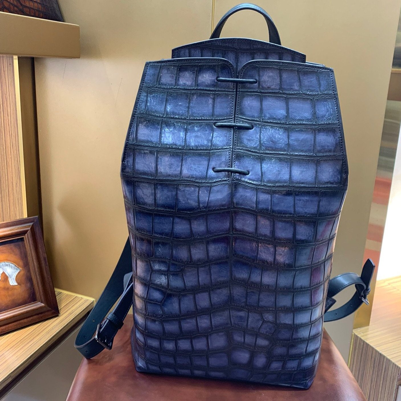 Handmade Men's Crocodile Genuine Leather Medium Backpack - Briefcase Deals