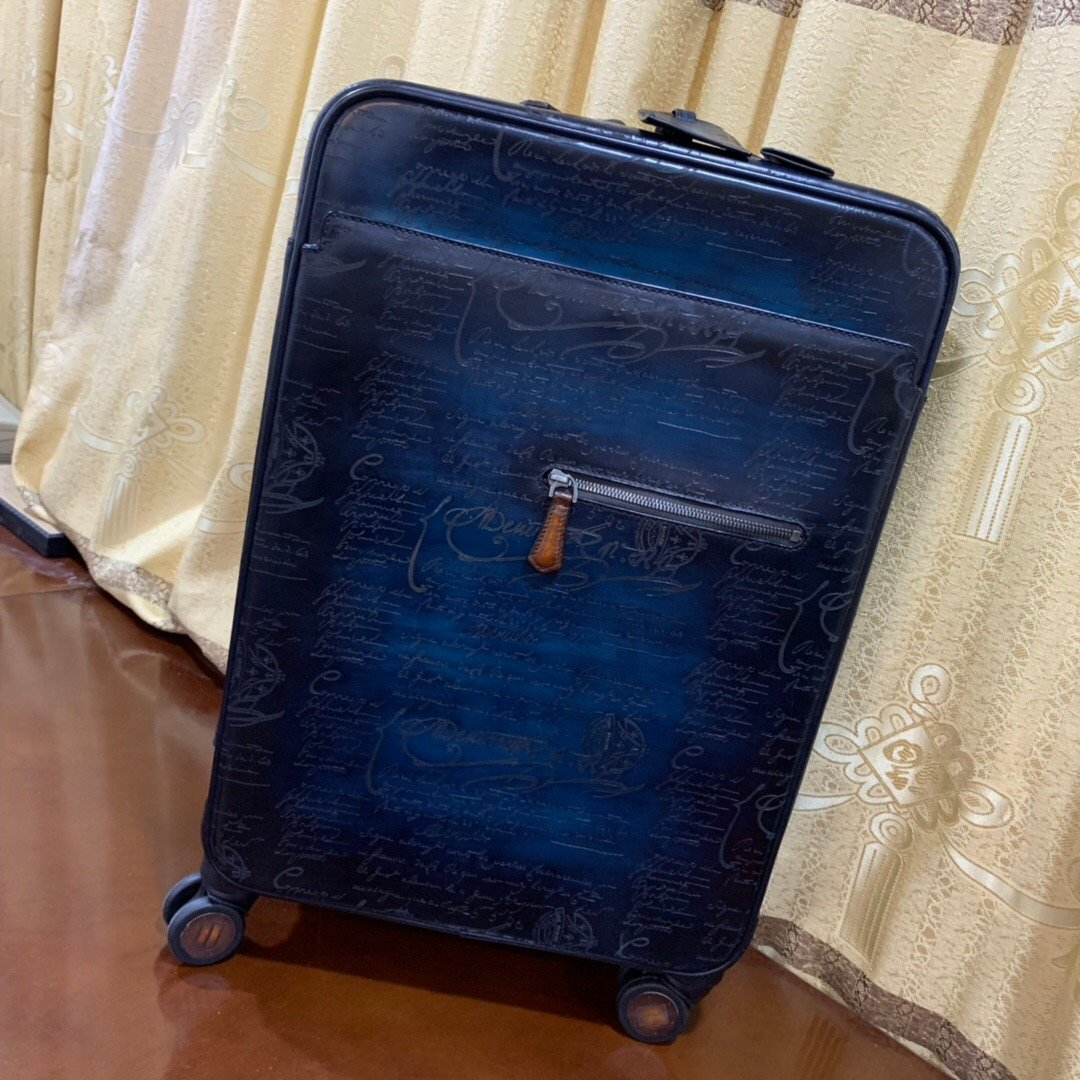 Vintage Patina Style Blue Genuine Leather 20'' Suitcase Luggage - Briefcase Deals