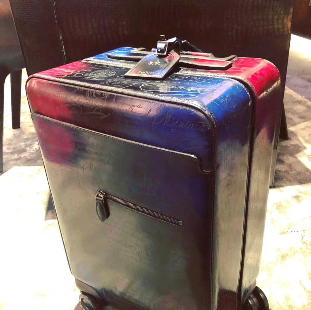 Handmade Patina Genuine Cow Leather 20'' Suitcase Luggage - Briefcase Deals