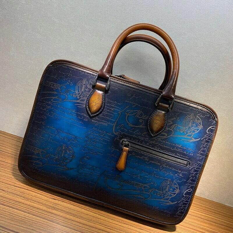 Handmade Men's Patina Style Engraving Genuine Leather Briefcase - Briefcase Deals