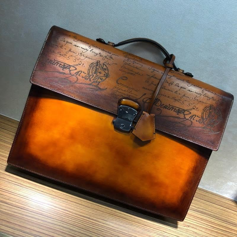 Handmade Patina Style Genuine Leather Medium Luxury Business Briefcase - Briefcase Deals
