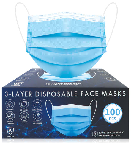 100pcs Disposable BLUE 3 Ply Face Masks