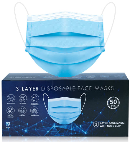 50pcs Disposable BLUE 3 Ply Face Masks