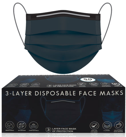 50pcs Disposable BLACK 3 Ply Face Masks