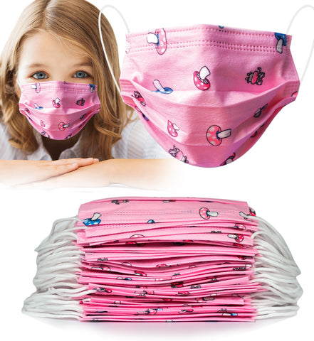 50pcs Disposable PINK 3 Ply Face Mask for KIDS