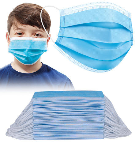 50pcs Disposable BLUE 3 Ply Face Masks for KIDS