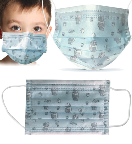 50pcs Disposable BLUE BEAR 3 Ply Face Masks for KIDS