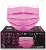50pcs Disposable PINK 3 Ply Face Mask