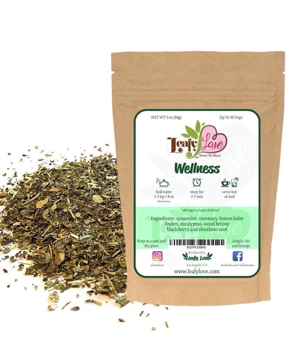 Leafy Love Wellness Blend - Leafy Love Herbal Tea Blends