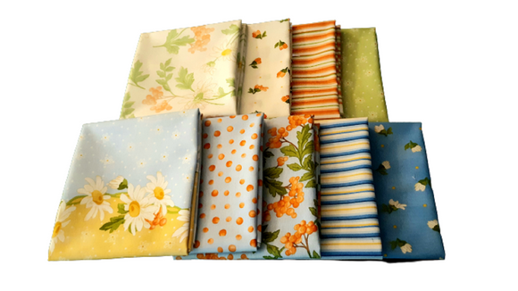 Fresh As A Daisy Fat Quarter Bundle 9 pcs - Fuller Fabrics