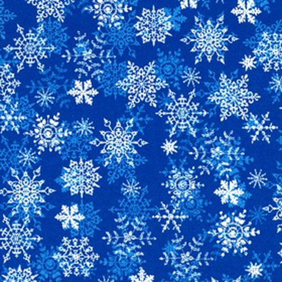 Christmas Cheer Blue With White Snowflakes