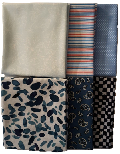 Fat Quarter Bundle   Assorted Blue Prints - Fuller Fabrics