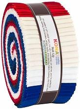 2-1/2in Strips Kona Cotton Patriotic Holiday Palette, Robert Kaufman 40pcs - Fuller Fabrics